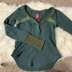 Free people green wool thermal Henley top Large